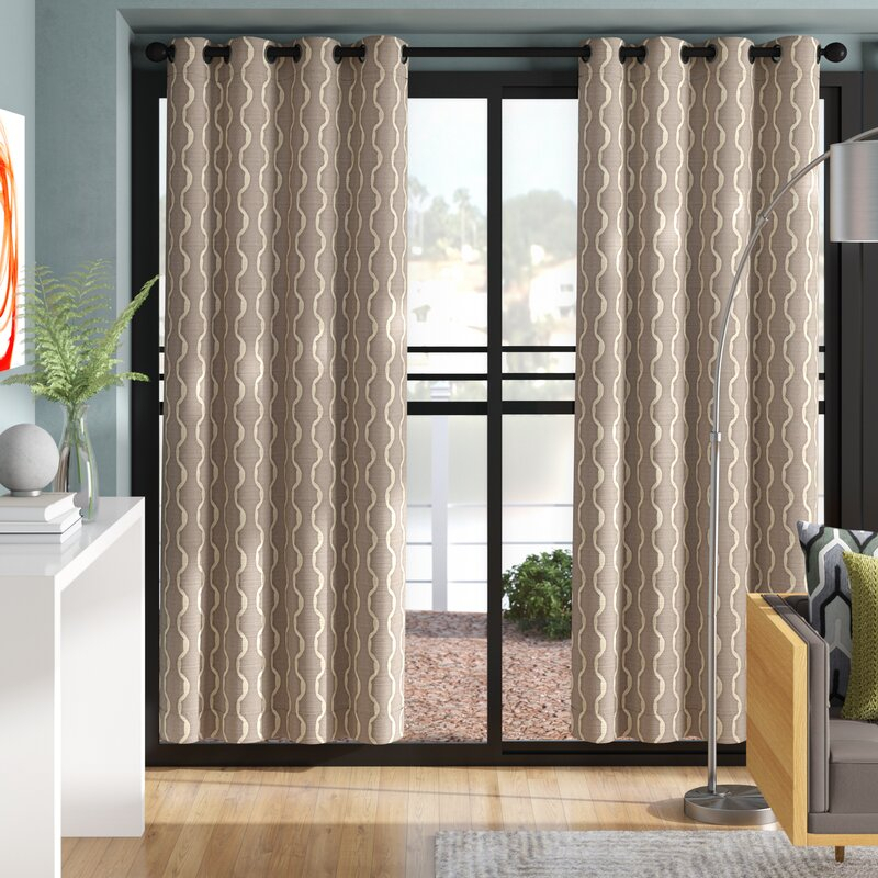 Magana Geometric Semi Sheer Grommet Curtain Panels In Baroque Linen Grommet Top Curtain Panel Pairs (View 37 of 48)