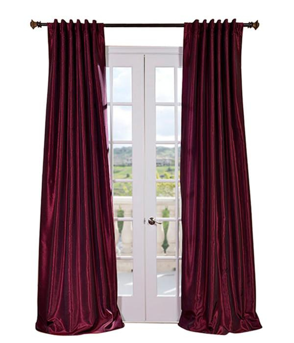 Magenta Vintage Textured Faux Dupioni Silk Curtains & Drapes Intended For Vintage Faux Textured Dupioni Silk Curtain Panels (#44 of 50)