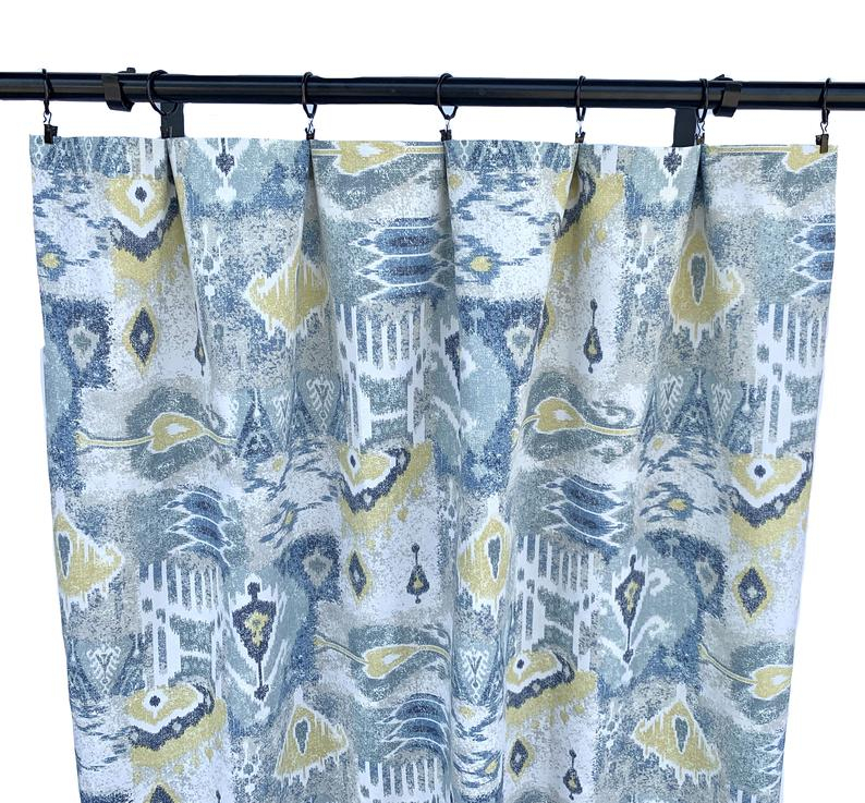 Magnolia Curtains, Ikat Curtains, 2 Curtain Panels, Blue And Yellow  Curtains, Home Decor, Geometric Curtain, 90's Curtains, Mid Century With Regard To Ikat Blue Printed Cotton Curtain Panels (#33 of 50)