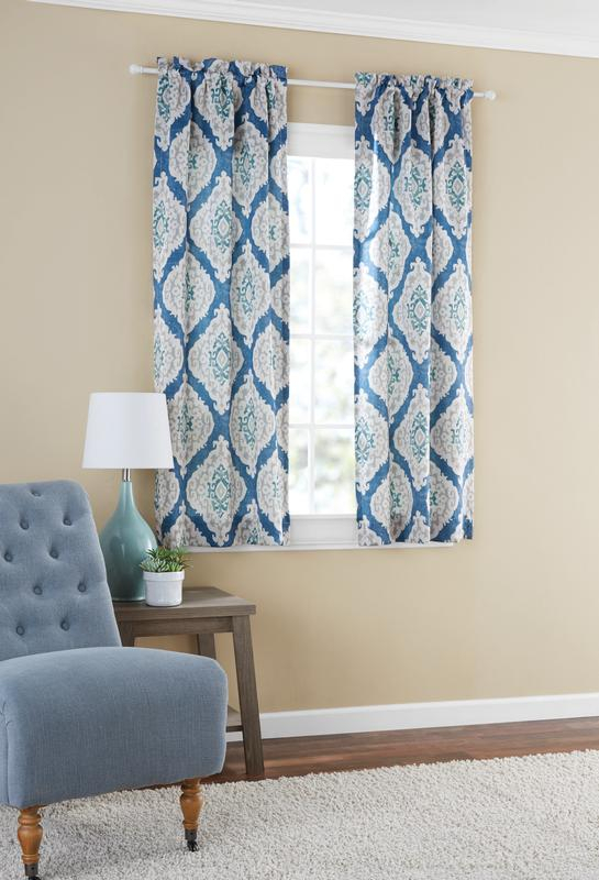 Mainstays Distressed Ikat Room Darkening Window Curtain In Eclipse Darrell Thermaweave Blackout Window Curtain Panels (View 39 of 50)