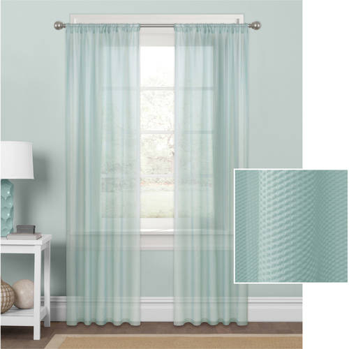 Mainstays Embossed Sheer Window Curtain Panel – Walmart For Kida Embroidered Sheer Curtain Panels (#24 of 50)