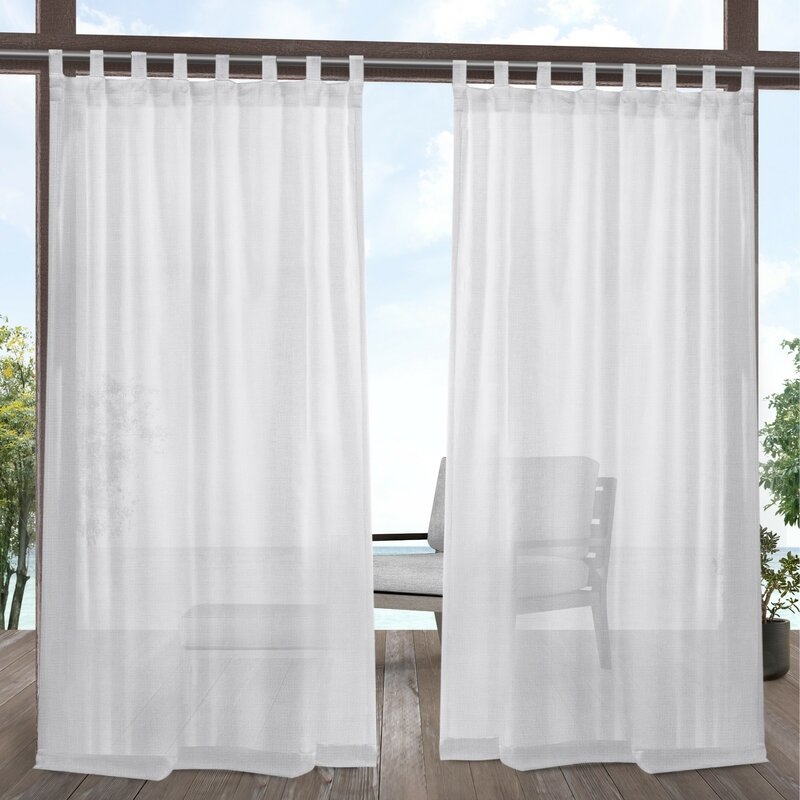 Malaya Solid Color Sheer Tab Top Curtain Panel Pair Regarding Solid Grommet Top Curtain Panel Pairs (View 7 of 35)