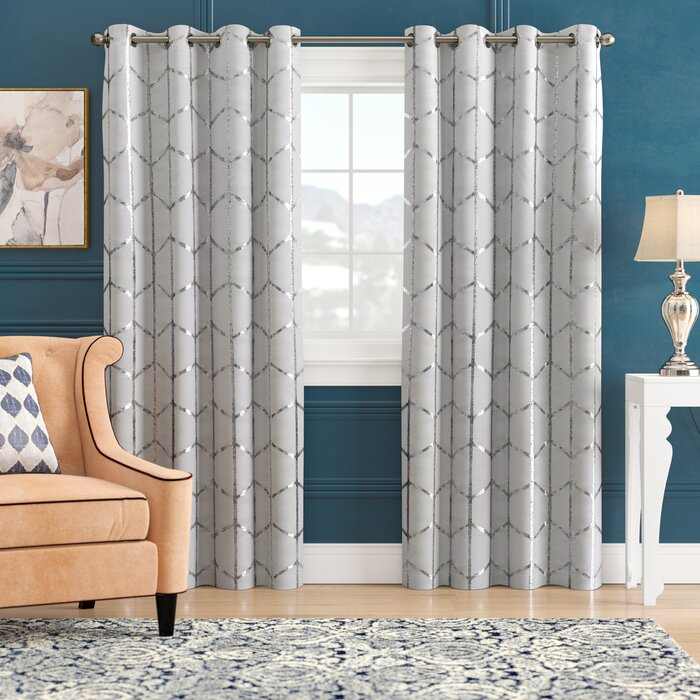 Mangesh Geometric Max Blackout Grommet Single Curtain Panel In Total Blackout Metallic Print Grommet Top Curtain Panels (#22 of 50)
