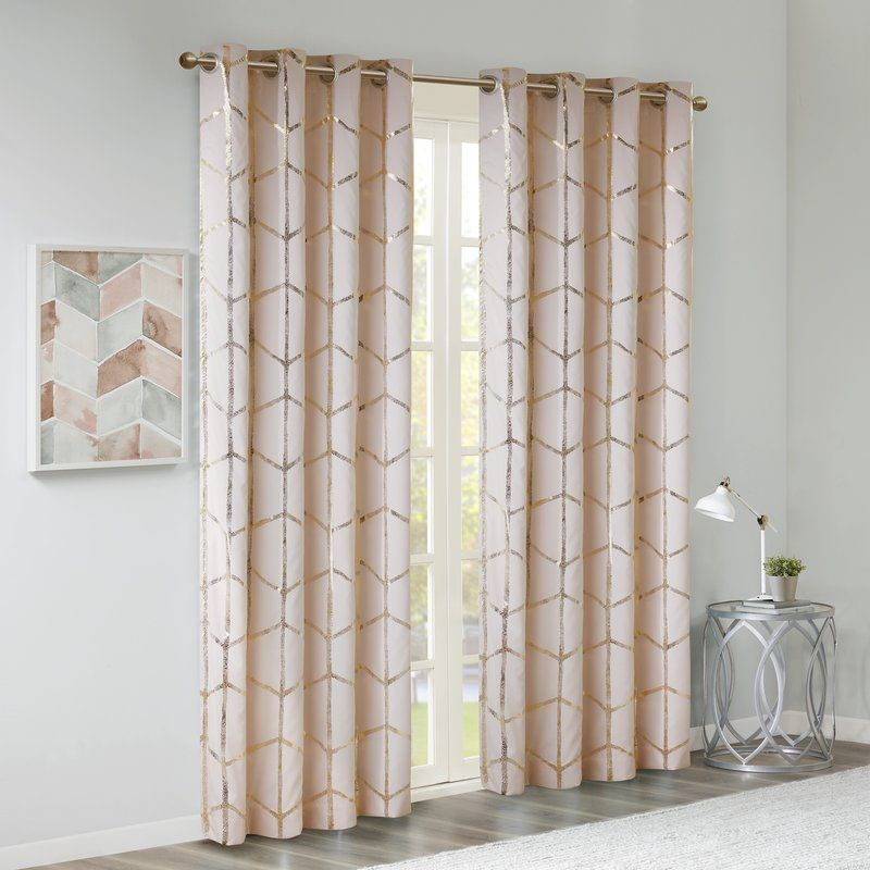 Mangesh Metallic Geometric Max Blackout Grommet Single For Kaiden Geometric Room Darkening Window Curtains (#27 of 39)