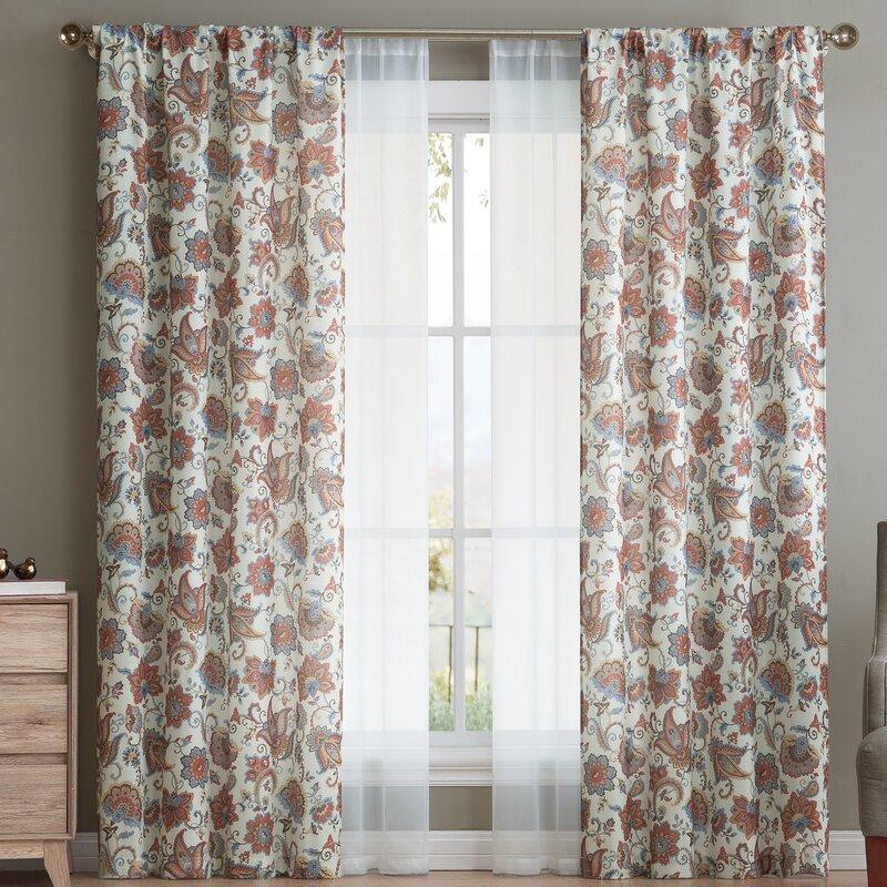 Margaree Paisley Semi Sheer Rod Pocket Curtain Panels With Regard To Rod Pocket Curtain Panels (View 19 of 34)