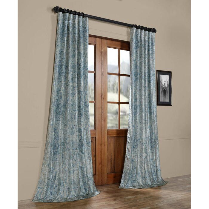Mariko Printed Faux Silk Taffeta Blackout Single Curtain Panel Pertaining To Faux Silk Taffeta Solid Blackout Single Curtain Panels (View 39 of 50)
