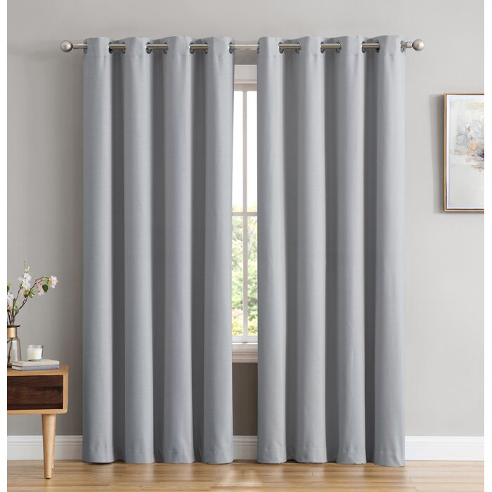 Marin Textured Under Energy Efficient Solid Color Max Blackout Thermal Grommet Curtain Panels Pertaining To Thermal Textured Linen Grommet Top Curtain Panel Pairs (View 34 of 42)