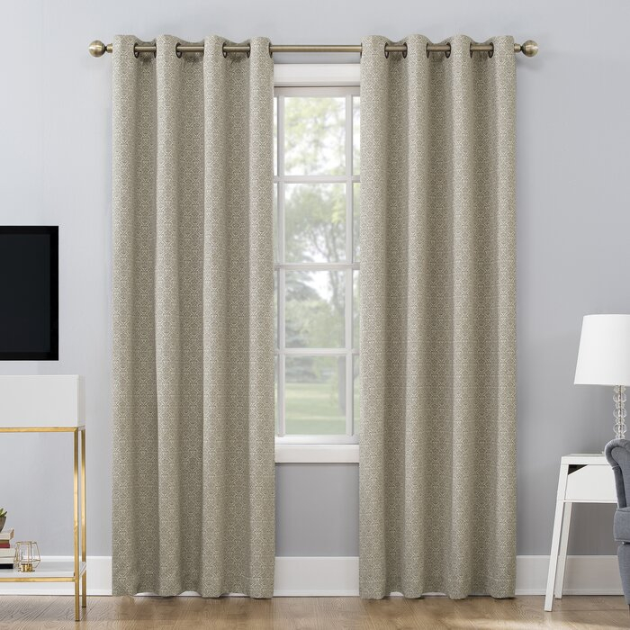 Maritza Jacquard Damask Max Blackout Thermal Grommet Curtain Panels Within Duran Thermal Insulated Blackout Grommet Curtain Panels (#15 of 29)