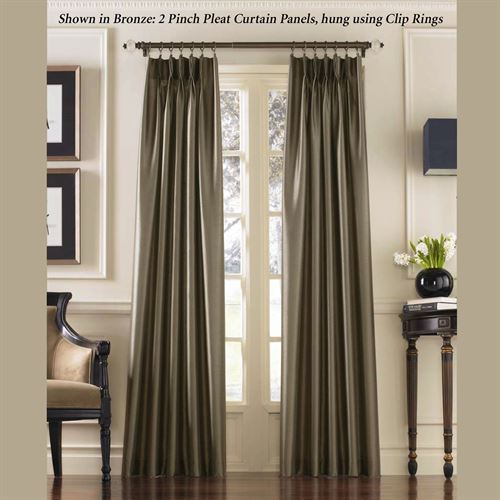 Marquee Flared Faux Silk Pinch Pleat Curtain Panel With Solid Cotton Pleated Curtains (#23 of 50)