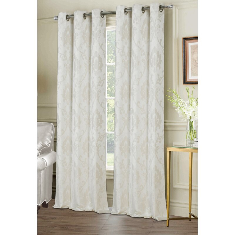 Maryville Window Damask Room Darkening Grommet Curtain Panels Within Andorra Watercolor Floral Textured Sheer Single Curtain Panels (View 25 of 46)