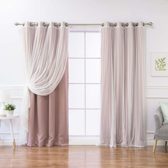 "Mauve Home Fashion Mix And Match Tulle Sheer Lace And Blackout 4 Piece Curtain Set Antique Bronze Grommet Top 52"" W X 84"" L Curtain Intended For Mix & Match Blackout Tulle Lace Bronze Grommet Curtain Panel Sets (View 8 of 50)"