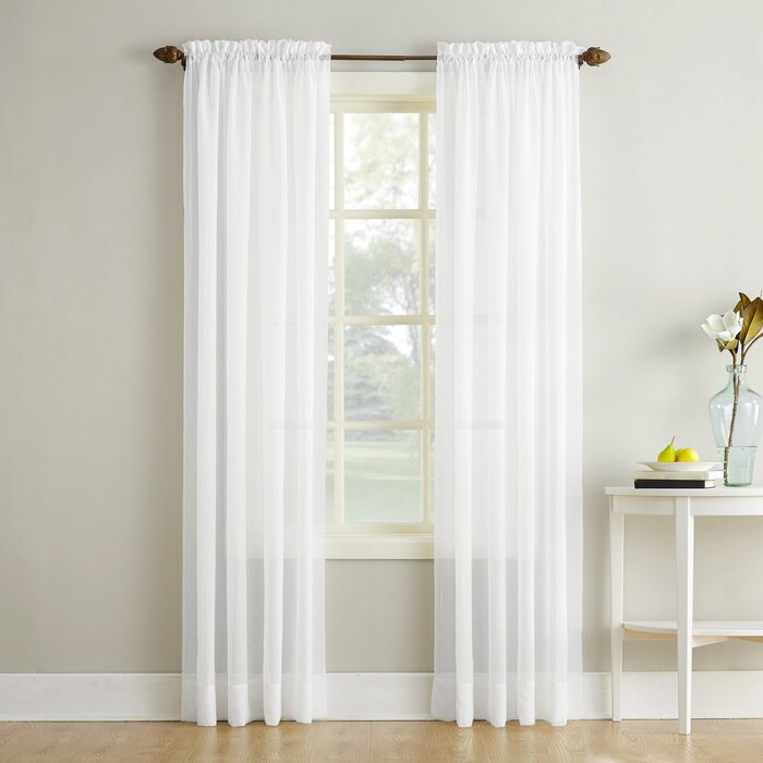 Maxon Crushed Voile Solid Sheer Rod Pocket Single Curtain Panel For Emily Sheer Voile Solid Single Patio Door Curtain Panels (View 16 of 50)
