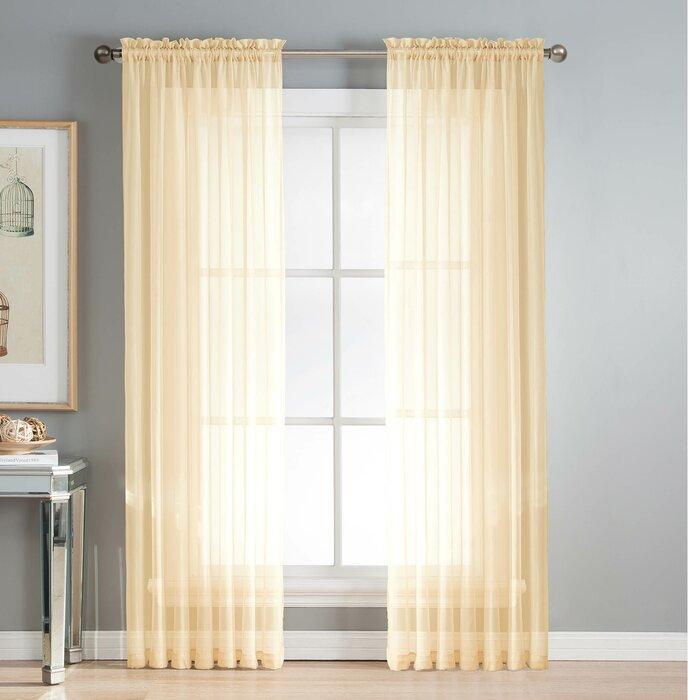 Mcgoldrick Solid Sheer Rod Pocket Curtain Panels For Rod Pocket Curtain Panels (View 21 of 34)