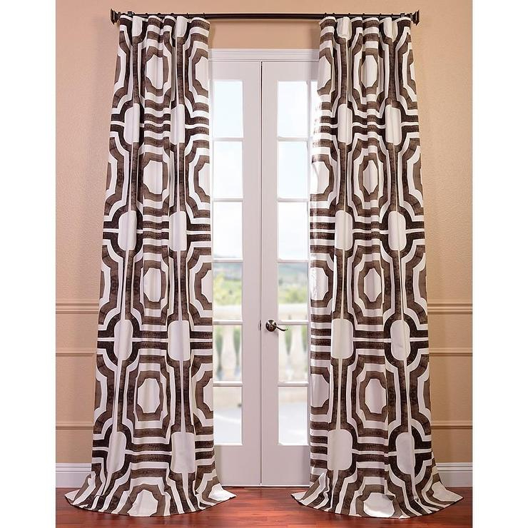 Mecca Printed Cotton Brown And White Curtain Panel In Mecca Printed Cotton Single Curtain Panels (View 3 of 50)