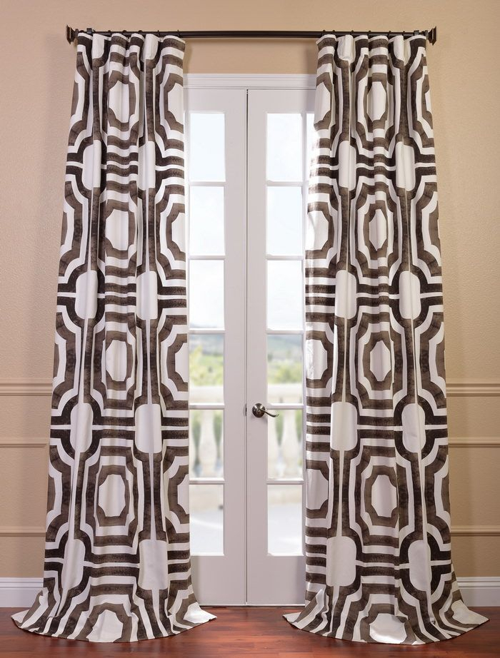 Mecca Printed Cotton Curtain Prtw D23 108 Regarding Overseas Leaf Swirl Embroidered Curtain Panel Pairs (View 10 of 50)
