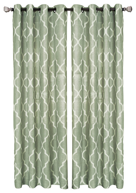 "Medalia Single Window Curtain, Spa Green, 52""x95"" Regarding Elrene Jolie Tie Top Curtain Panels (#18 of 35)"