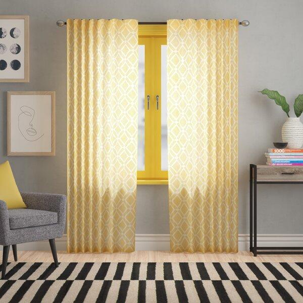 Meka Geometric Semi Sheer Rod Pocket Single Curtain Intended For Jacob Tab Top Single Curtain Panels (View 17 of 23)