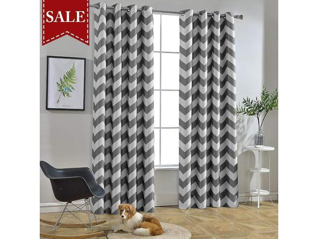 Melodieux Chevron Room Darkening Blackout Grommet Top Curtains, 5284  Inch, Grey (1 Panel) – Newegg Pertaining To Chevron Blackout Grommet Curtain Panels (View 31 of 50)