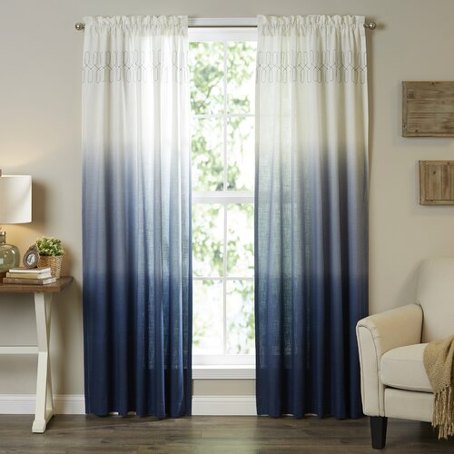 Mercury Row Higbee 100% Cotton Ombre Sheer Rod Pocket Single Intended For Ombre Embroidery Curtain Panels (View 6 of 50)