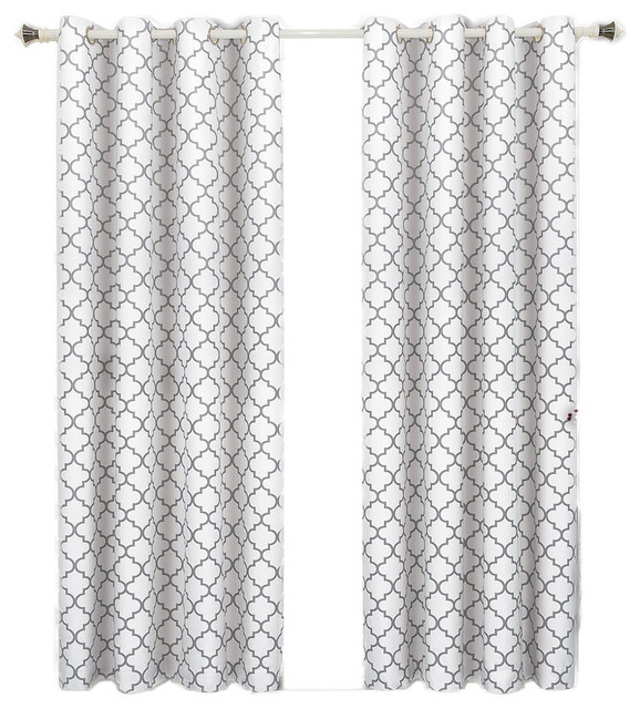 "Meridian Room Darkening Thermal Grommet Panels, Set Of 2, White, 104""x84"" Pertaining To Meridian Blackout Window Curtain Panels (#37 of 50)"