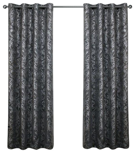 Metallic Print Curtains Fabric Silver Faux Silk Inch Curtain In Total Blackout Metallic Print Grommet Top Curtain Panels (View 22 of 50)