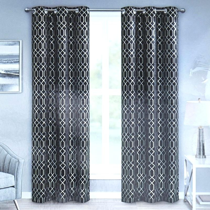 Metallic Print Curtains Fabric Silver Faux Silk Inch Curtain Within Total Blackout Metallic Print Grommet Top Curtain Panels (View 9 of 50)