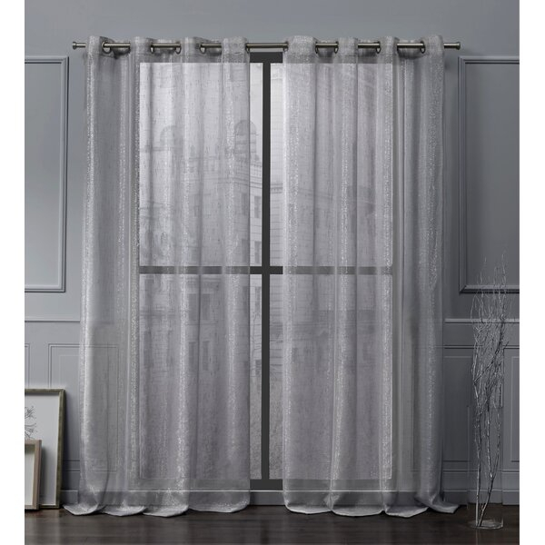 Metallic Sheer Curtains | Wayfair For Oakdale Textured Linen Sheer Grommet Top Curtain Panel Pairs (#24 of 41)