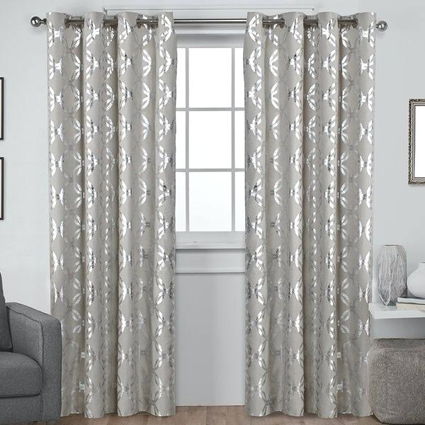 Metallic Window Panels Curtain Home Blackout Grommet Top In Total Blackout Metallic Print Grommet Top Curtain Panels (#28 of 50)