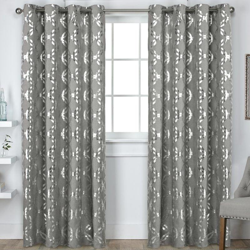 Metallic Window Panels Curtain Home Blackout Grommet Top Regarding Total Blackout Metallic Print Grommet Top Curtain Panels (View 26 of 50)