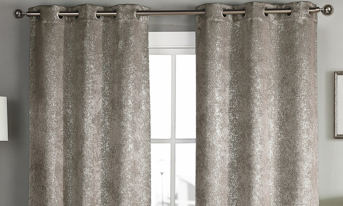 Metallic Woven Heavy Blackout Window Panel Pairs In Curtain Panel Pairs (View 14 of 26)