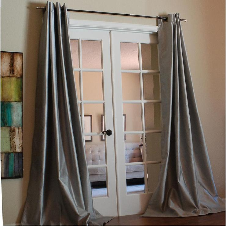 Mia Faux Silk 96 Inch Grey Curtain Panel Pertaining To Solid Faux Silk Taffeta Graphite Single Curtain Panels (View 14 of 50)
