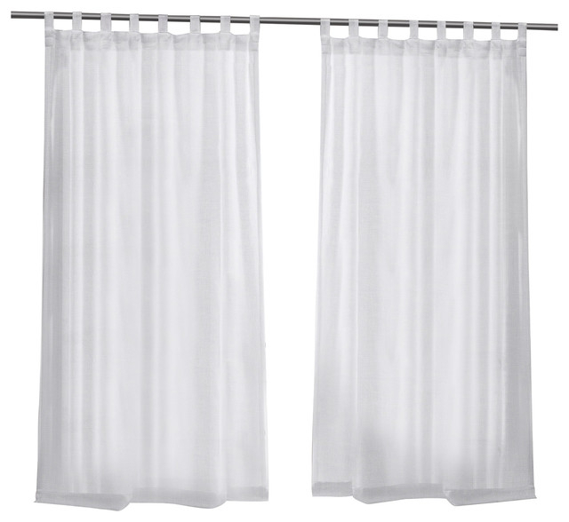 Miami Sheer Indoor/outdoor Tab Top Window Curtain Panel Pair, 54X108, White Throughout Indoor/outdoor Solid Cabana Grommet Top Curtain Panel Pairs (View 21 of 48)