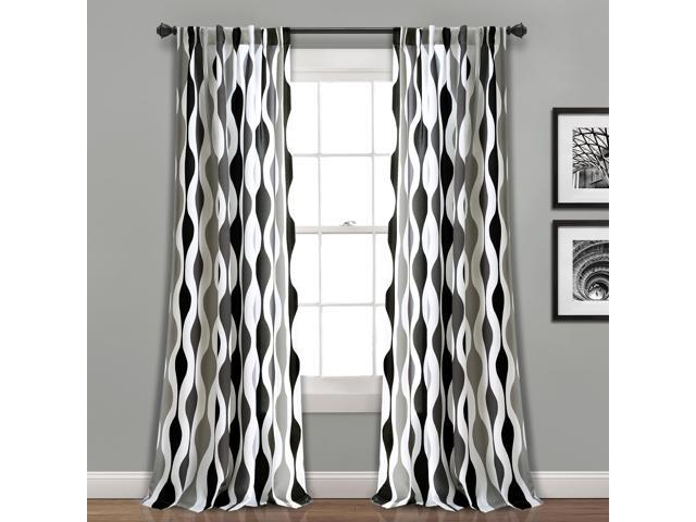 Mid Century Geo Room Darkening Window Curtain Panels Black/gray 52x84 Set – Newegg Pertaining To Mid Century Geo Room Darkening Window Curtain Panel Pairs (View 5 of 43)