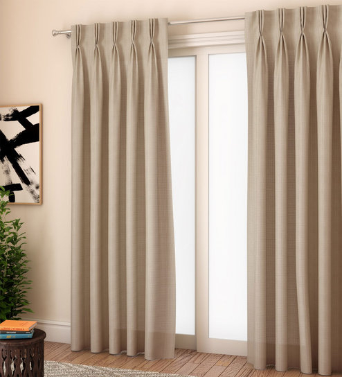 Milano Plain Textured 9 Feet Long Door Glossy American Pleat Curtain Set Of  2Curtain Label For Solid Cotton Pleated Curtains (#24 of 50)