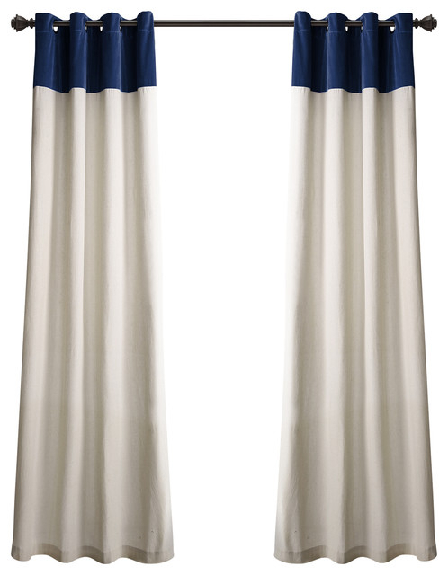 Milo Linen, Navy/off White, Pair For Knotted Tab Top Window Curtain Panel Pairs (#24 of 50)