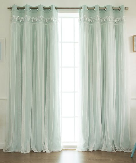 Mint Lace Overlay Blackout Curtain Panel – Set Of Two Pertaining To Bethany Sheer Overlay Blackout Window Curtains (View 30 of 50)