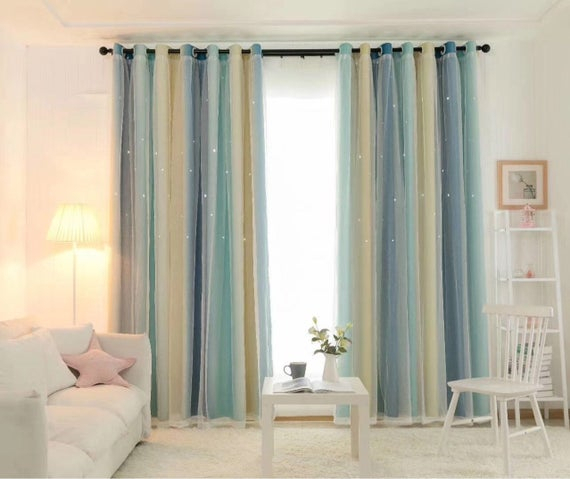 Mix & Match Tulle And Star Rainbow Cut Out Blackout Curtains For Bedroom  Set Of 1Pcs Tulle Curtain And 1Pcs Blackout Curtain Throughout Mix And Match Blackout Blackout Curtains Panel Sets (#39 of 50)