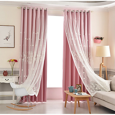 Modern Blackout Curtains Drapes Two Panels Curtain & Sheer Intended For Kida Embroidered Sheer Curtain Panels (#25 of 50)