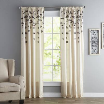 Modern Bloom Floral/flower Semi Sheer Grommet Single Curtain Inside Andorra Watercolor Floral Textured Sheer Single Curtain Panels (View 26 of 46)