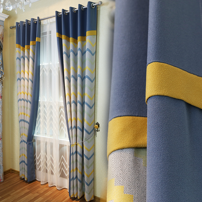 Modern Colorful Geometric Chevron Linen Cotton Window Curtains For Living  Room Pertaining To Geometric Linen Room Darkening Window Curtains (View 34 of 50)