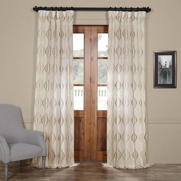 Modern & Contemporary Embroidered Sheer Curtains | Allmodern In Oakdale Textured Linen Sheer Grommet Top Curtain Panel Pairs (#25 of 41)