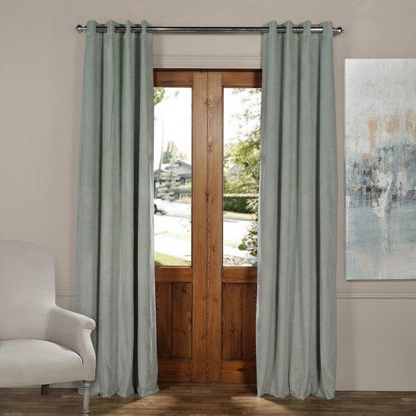 Modern & Contemporary Emerald Green Velvet Curtains | Allmodern With Regard To Heritage Plush Velvet Single Curtain Panels (View 31 of 50)