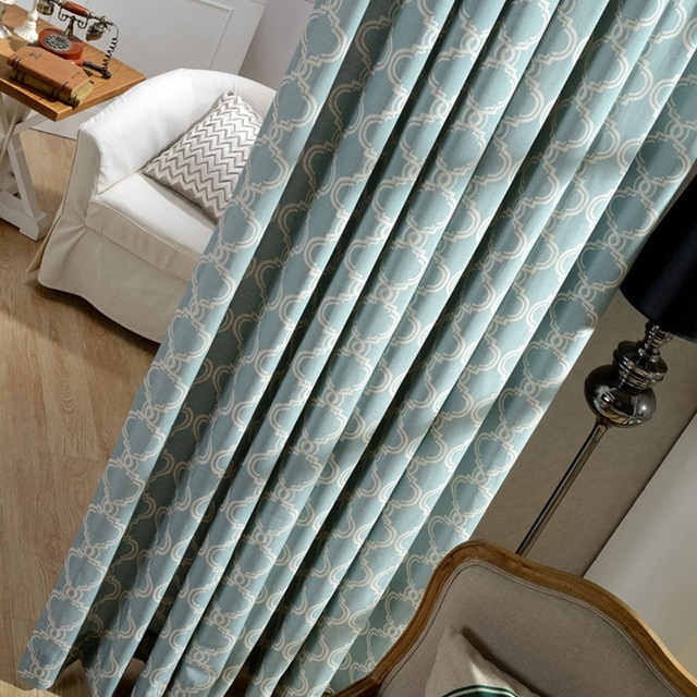 Modern Geometric Lantern Linen Curtains For Living Room With Regard To Geometric Linen Room Darkening Window Curtains (View 36 of 50)
