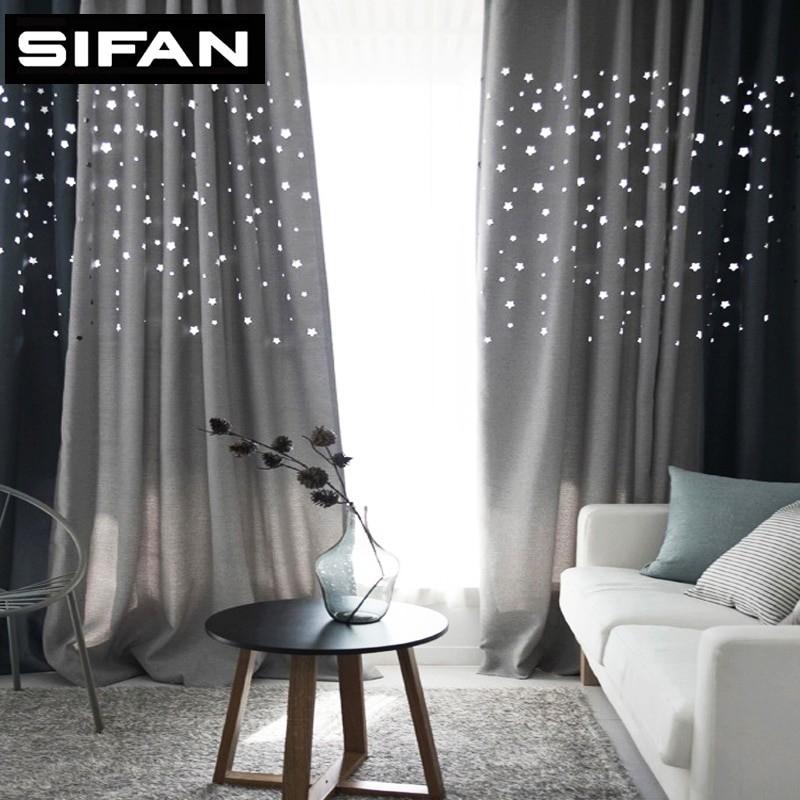 Modern Hollow Star Faux Linen Blackout Curtains For Living For Faux Linen Blackout Curtains (#31 of 50)