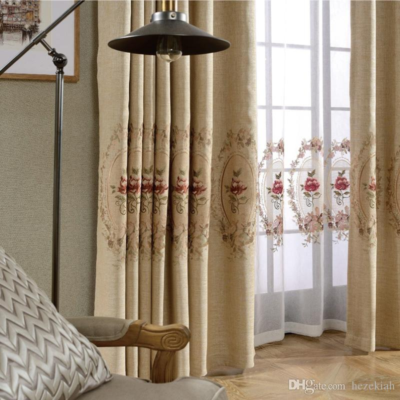 Modern Minimalist All Blackout Finished Curtain Fabric Solid Color Cotton  Linen Linen Embroidery Yarn Living Room Bedroom Bay Window Throughout Solid Country Cotton Linen Weave Curtain Panels (#27 of 50)