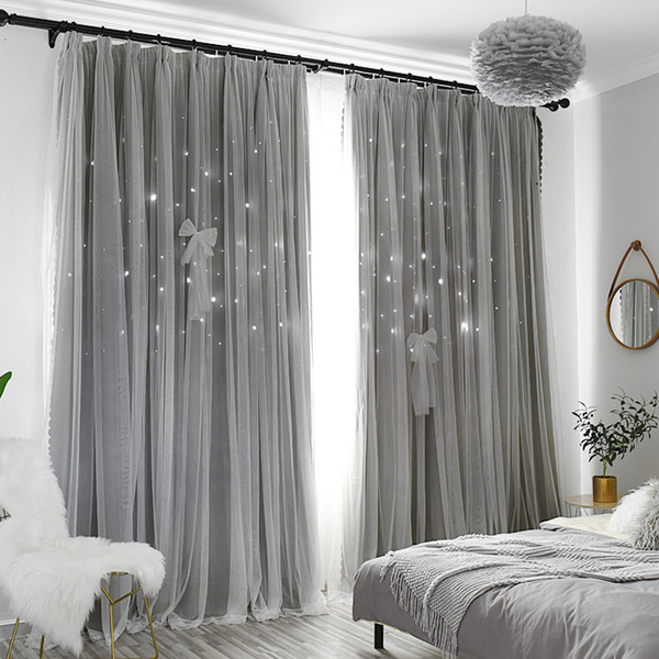 Modern Stars Window Curtains For Living Room Bedroom Kids Room Pink Blue  Grey Voile Tulle Curtain Double Layer Door Curtains Sheer Curtains Sheer With Regard To Double Layer Sheer White Single Curtain Panels (View 35 of 50)