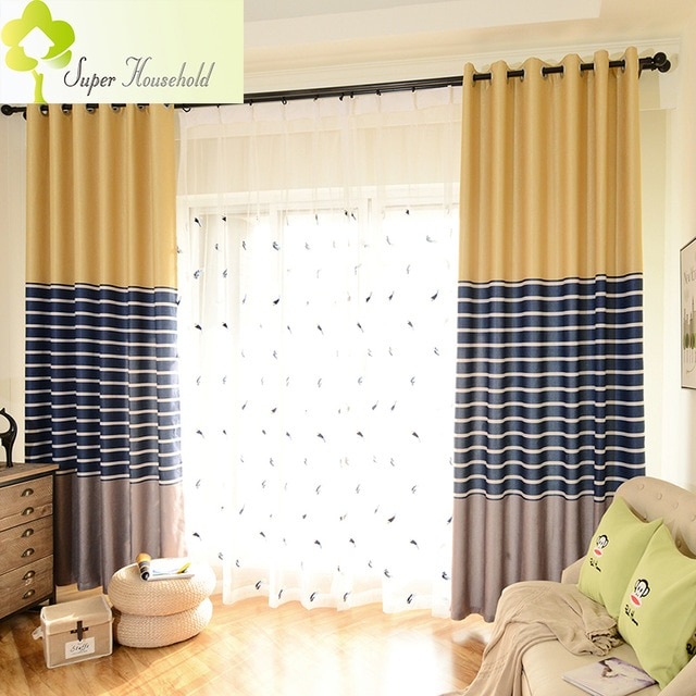 Modern Striped Printed Thick Blackout Curtains For Living Pertaining To Faux Linen Extra Wide Blackout Curtains (View 34 of 50)