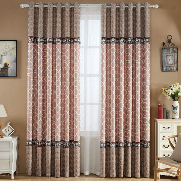 Modern Thick Cotton Linen Jacquard Blackout Curtains For Living Room  Bedroom Kitchen Geometric Style Window Curtain Fabric Cortinas Curtains  Canada Pertaining To Geometric Linen Room Darkening Window Curtains (View 37 of 50)