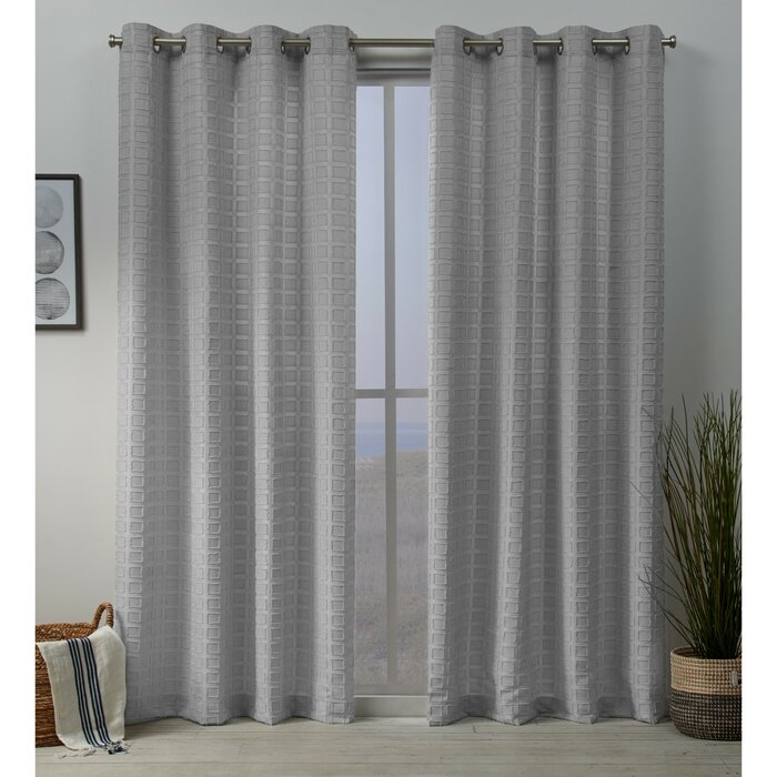 Moira Squared Embellished Solid Color Room Darkening Grommet Curtain Panels Pertaining To Grommet Curtain Panels (#29 of 39)
