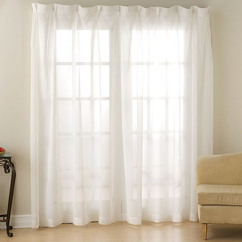 Monte Carlo Pinch Pleated Voile Drape Collection | Boscov's Pertaining To Double Pinch Pleat Top Curtain Panel Pairs (#27 of 50)